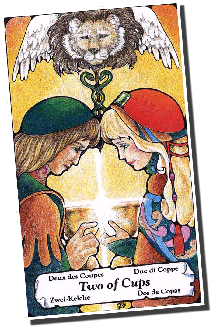 The Lovers card from the original Rider-Waite-Smith Tarot deck, scanned in and colored by Don Leon and introduced into the Public Domain in August 2006