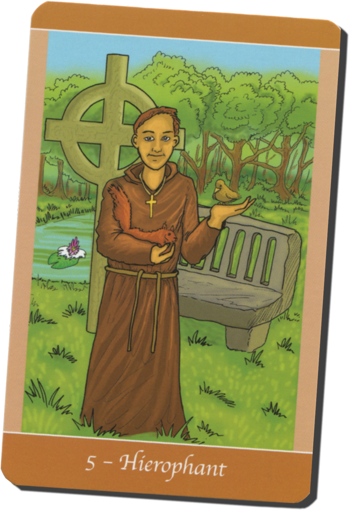 The Hierophant, depicted as St. Francis of Assissi in Simply Deep Tarot