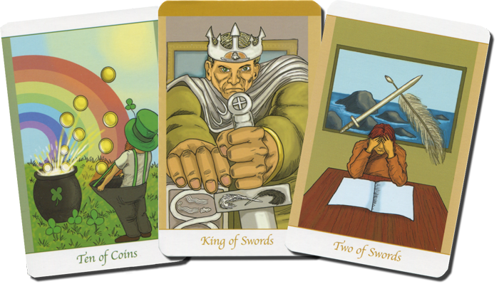 Ten of Coins, King of Swords and Two of Swords from Simply Deep Tarot